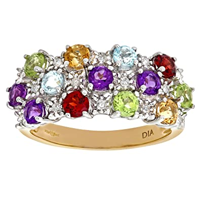 Naava Ladies 9ct Yellow Gold Diamond & Multi Gem Stone Dress Ring