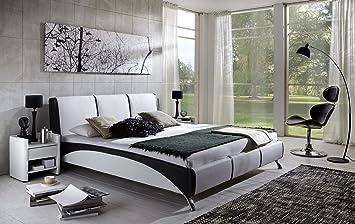 SAM® Design Polsterbett Fun, 200 x 200 cm in weiß/schwarz, komfortable Ruckenlehne inklusive Soundsystem, modernes Design mit SAMOLUX®-Bezug, Bett mit edlen Chromfußen, auch als Wasserbett geeignet