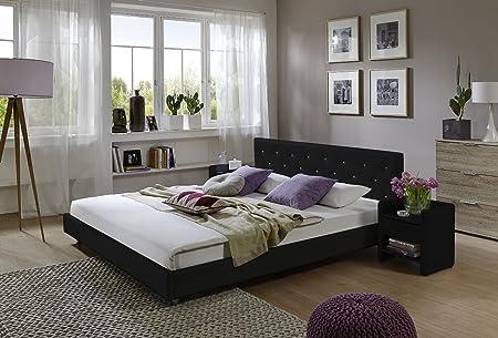XXS® Möbel Design Polsterbett Adonia 200 x 200 cm in schwarz abgestepptes Design Ziersteine im Kopfteil Fuße lackiert pflegeleicht Lager Speditionsversand