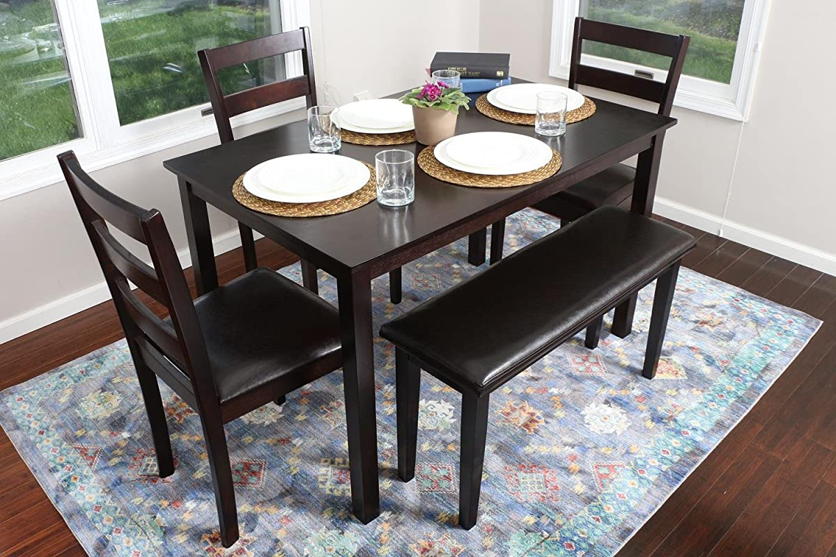 4 person 5 piece kitchen dining table set 1 table 3 for Leather kitchen table chairs
