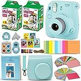Fujifilm Instax Mini 9 Instant Camera ICE BLUE + Fuji INSTAX Film (40 Sheets) + Accessories Kit Bundle + Custom Case with Strap + Assorted Frames + Photo Album + 60 Colorful Sticker Frames + MORE