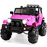 Best Choice Products 12V Kids Ride-On Truck Car RC Toy w/ Remote Control, 3 Speeds, Spring Suspension, LED Lights, AUX and Built-in Music - Pink (Color: Pink)