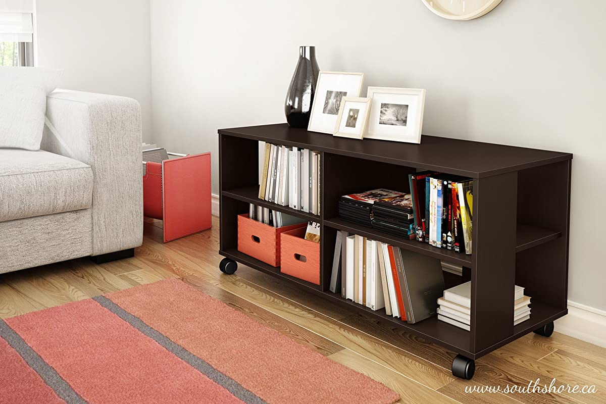 Jambory TV Stand Storage Unit on Casters - Fits TVs Up to 48 Wide - Chocolate - By South Shore