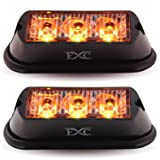 (2PCS) 3-LED Strobe Light Amber Waterproof Emergency Beacon Flash Lights,Purishion Caution Bar 12 Different Flashing Car SUV Pickup Truck Van¡­ (Color: Amber)
