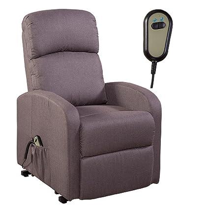 Fernsehsessel Relaxsessel TV Sessel Aufstehhilfe Fernbedienung Mikrofaser grau-braun