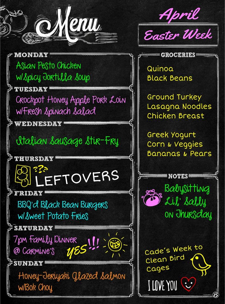 "Bigtime 16"" Magnetic Dry Erase Weekly Chalkboard Menu Meal Planner Organizer for Refrigerator | Grocery Shopping List Area | Fitness or Diabetic Meal Prep Planning 1 Calendar Week Fridge Black Board"