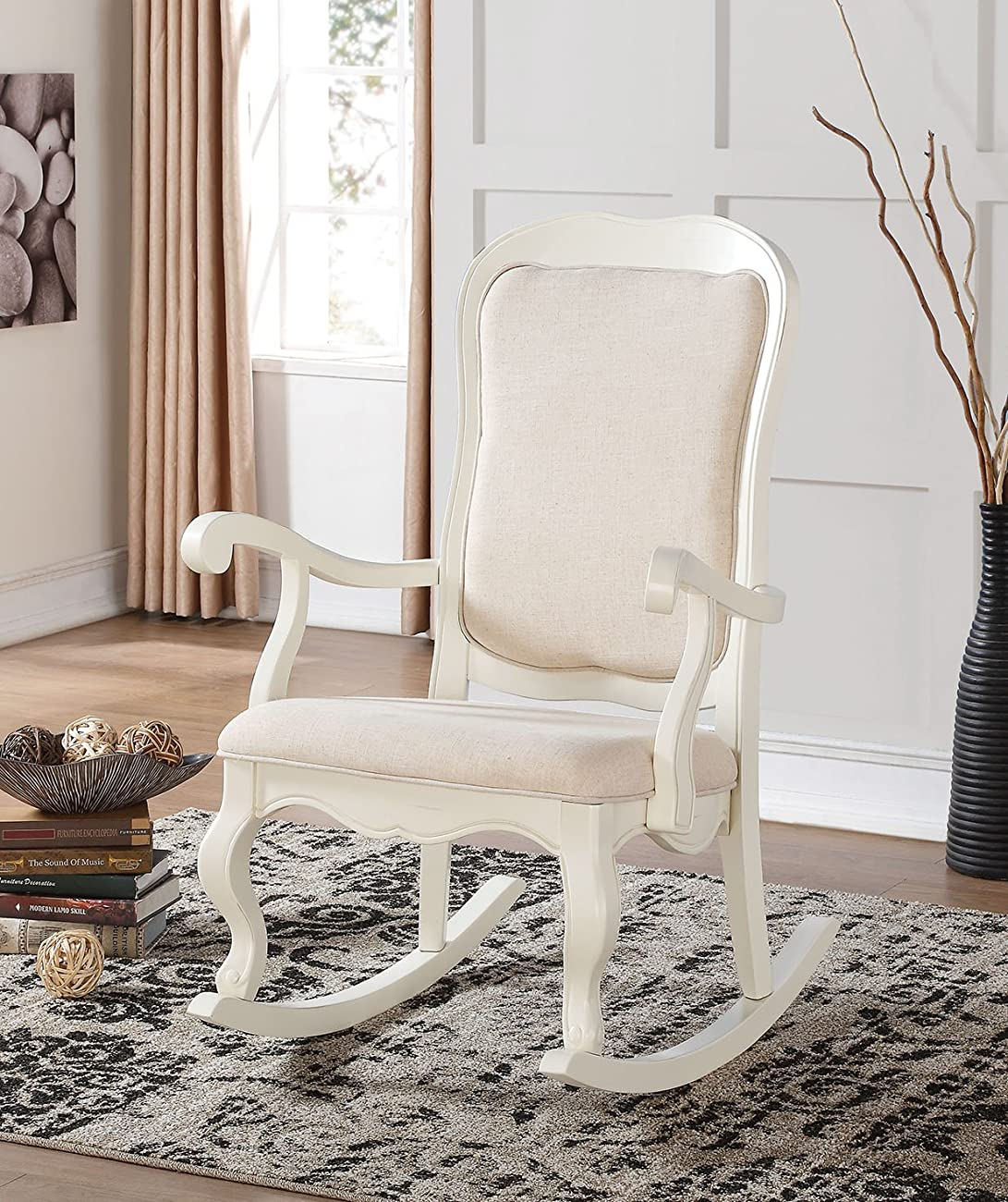 ACME Furniture 59388 Sharan Rocking Chair, Antique white 0
