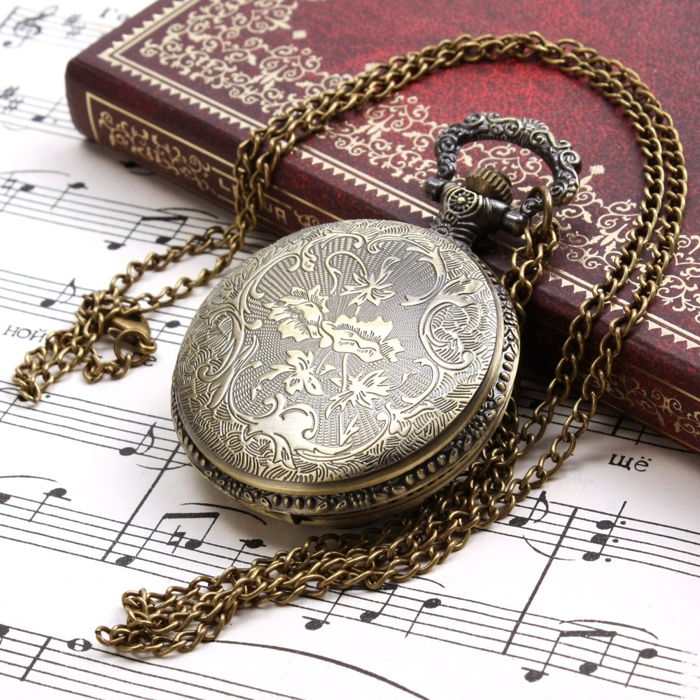 ALIENWOLF Unisex Antique Case Vintage Brass Rib Chain Quartz Pocket Watch 2