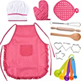 Bememo Kids Chef Set Children Cooking Play Kids Cook Costume with Utensils for Girls Children's Day Gift, 16 Pieces (Pink) (Color: Pink)