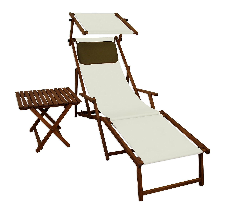 Sonnenliege Gartenliege Deckchair Saunaliege mit Dach + Fußteil + Tisch Beige günstig