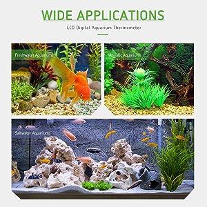 VIVOSUN 1-Pack LCD Digital Aquarium Thermometer Fish Tank Water Terrarium Temperature with Suction Cup for Turtle (Tamaño: 1 pack)