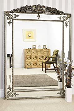 Large Silver Gilt Decorative Antique Bevelled Mirror