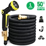 Expandable Garden Hose 50ft Flexible Expanding Water Hose with 3/4 Inch 100% Solid Brass Fittings 9 Function Hose Nozzle, 50' Lightweight Gardening Hose, Outdoor Yard Cloth Hoses (1 Year Guarantee) (Color: Black, Tamaño: 50ft)