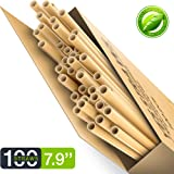 100% Compostable & Biodegradable Eco Friendly Long Straws - Pack of 100 - Natural and Organic Drinking Straws - Better Alternative to Aluminum, Stainless-Steel, Silicone & Glass Straws (Premium) (Color: Premium, Tamaño: 8 inch)