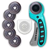 Premier Blades 45mm Rotary Cutter Tool (5 EXTRA BLADES INCLUDED) Ergonomic Soft Handle - Highest Quality Stainless Steel Blades- Perfect for Quilting & Cutting Fabric, Paper, Leather, and More! (Color: Teal, Tamaño: 45mm)