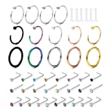 FIBO STEEL 46 Pcs 20-18G Stainless Steel Hoop Nose Rings Stud l-Shape Nose Piercing Jewelry Lip Septum Ring Colored CZ Inlaid (Color: B: 46 Pcs)