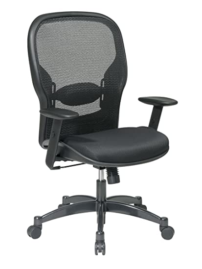 SPACE Seating Breathable Mesh Black Back and Padded Mesh Seat, 2-to-1 Synchro Tilt Control, Adjustable Arms and Lumbar Support with Gunmetal Finish Base Managers Chair