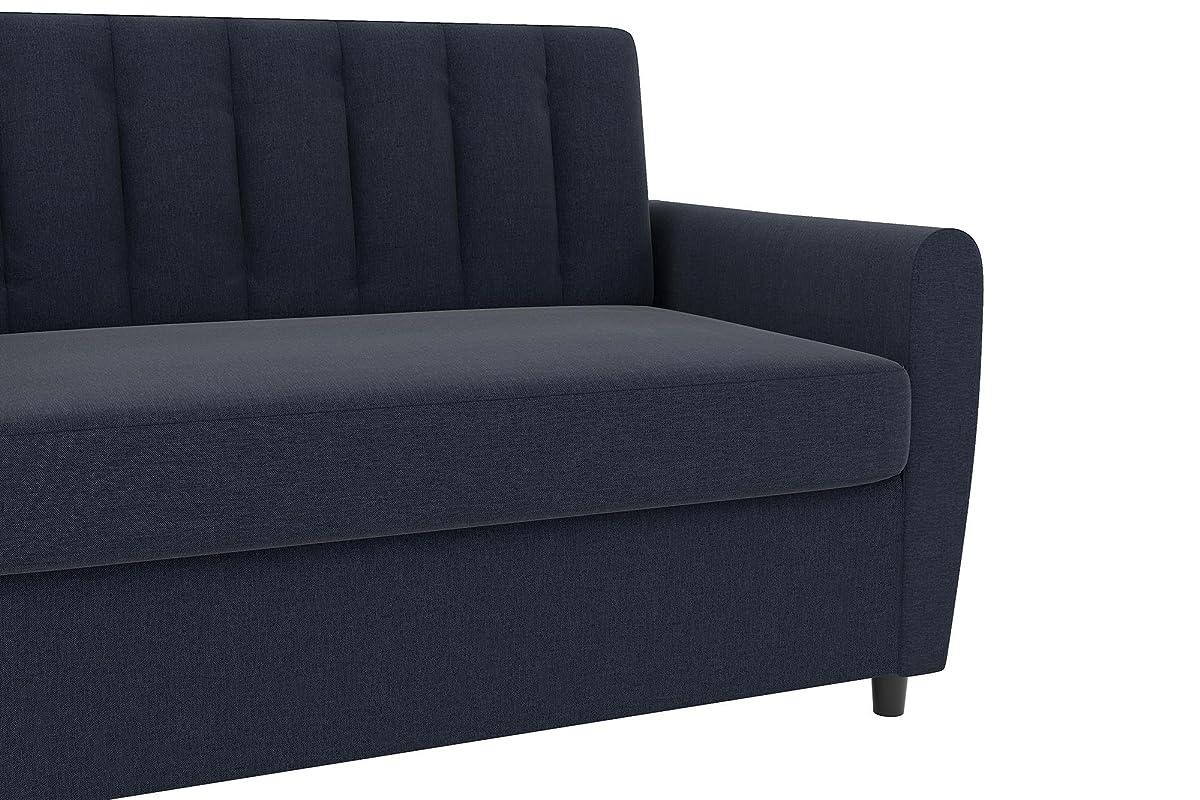 Novogratz Brittany Sleeper Sofa, Premium Linen Upholstery and Wooden Legs, Blue