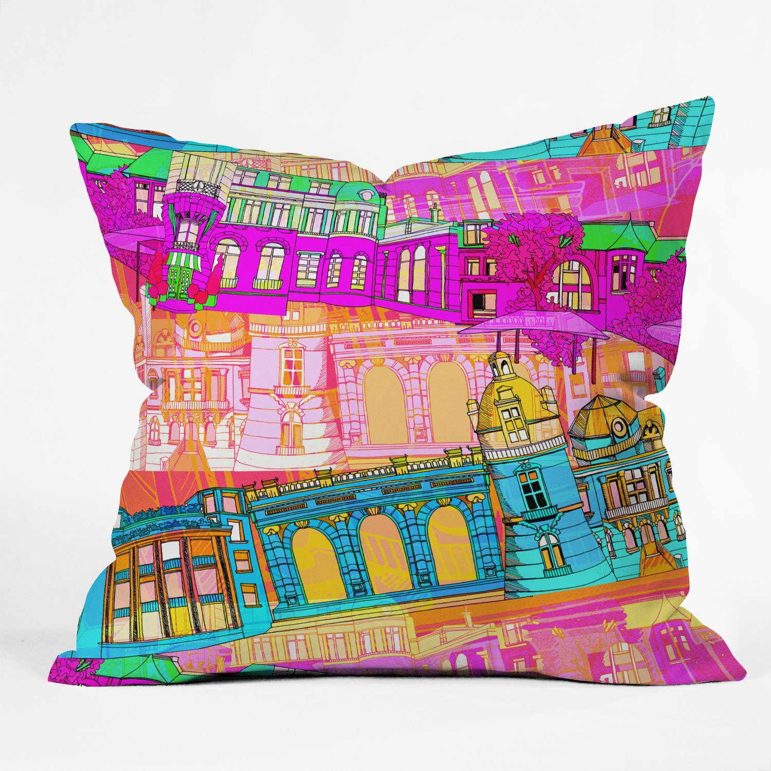 DENY Designs Aimee St Hill City Scape Throw Pillow, 26-INCH BY 26-INCH 18-Inch by 18-Inch