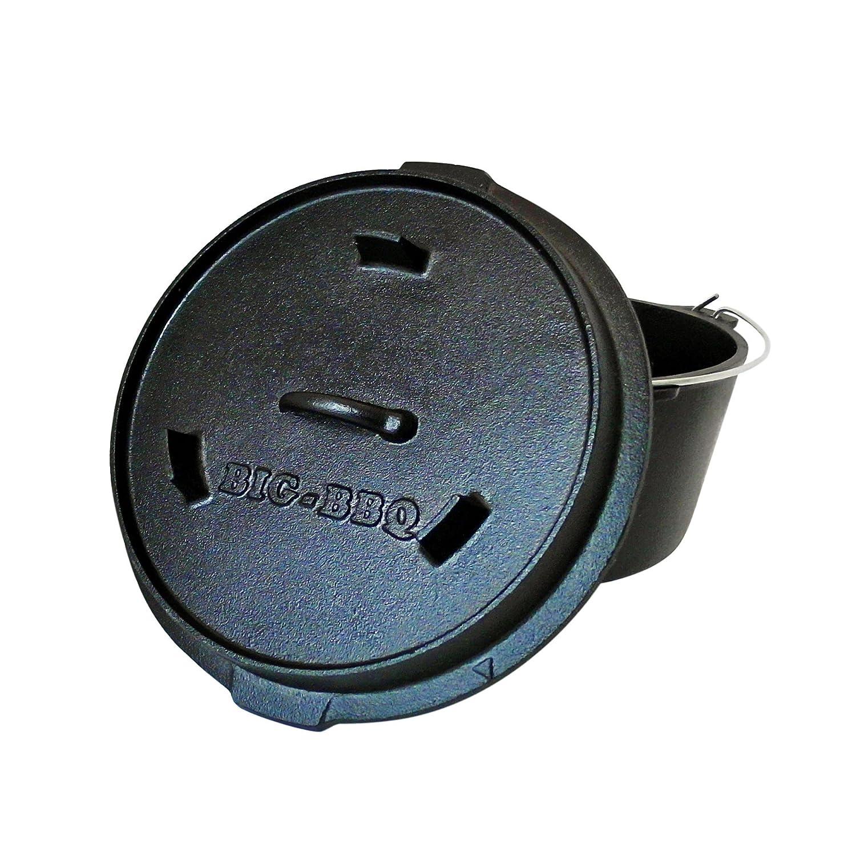 Big-BBQ Premium DO 9.0 Dutch-Oven aus Gusseisen | Fertig eingebrannter 12er Koch-Topf aus Gusseisen | mit Deckelheber und Beinen kaufen