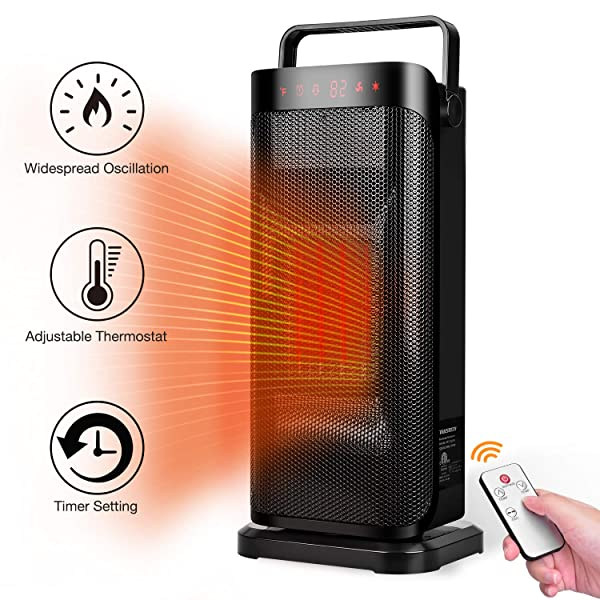 Electric Space Heater 1500w Fast Heating Portable Oscillating