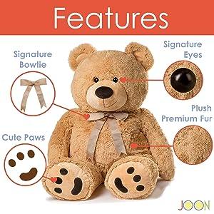 JOON Huge Teddy Bear - Tan (Color: Tan, Tamaño: 38)