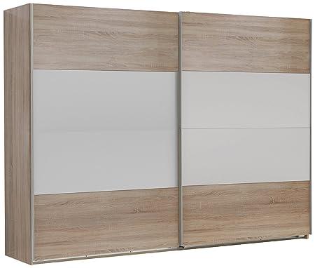 Wimex 785862 Schwebeturenschrank 270 x 210 x 65 cm, Felder variabel positionierbar, Front und Korpus Eiche Sägerau Nachbildung / Absetzungen, alpinweiß