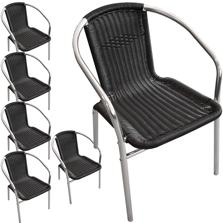 6 Stück Aluminium Stapelstuhl Poly-Rattanbespannung Gartenstuhl Bistrostuhl Gartenmöbel Balkonmöbel Terrassenmöbel Silber / Schwarz