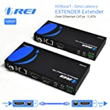OREI HDMI Extender Over Ethernet CAT5e/CAT6 Power Over Cable - HDBaseT - Zero Latency - 1080P Upto 500 Feet -IR Signal (Color: Black, Tamaño: CAT5/6 - 500 Feet)