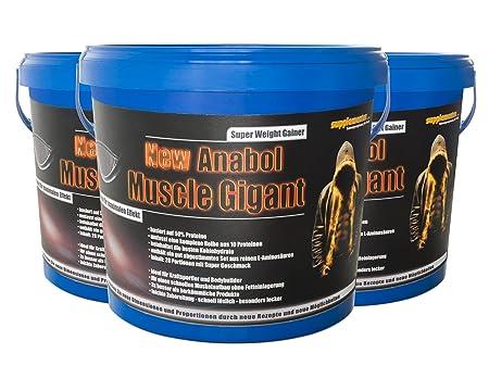 3 Eimer á 2,27kg NEW ANABOL MUSCLE GIGANT! 3-Monatsvorrat Eiweißpulver Anabol Muskelaufbau Gainer BCAA Masse Kraft Anabolika Geschmack Vanille