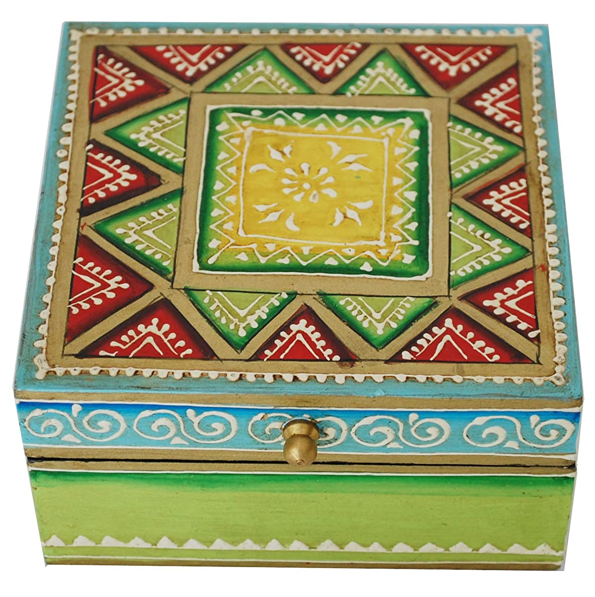 Box with Cone Painting Art Green Wooden Decorative Box