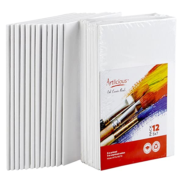 """Blank Cotton Canvas Panels 11/""""x14/"""" Mounted Art Boards 48-Pack"""