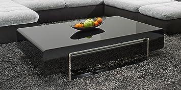 Couchtisch schwarz Hochglanz mit Schublade Case 120x70cm Wohnzimmertisch