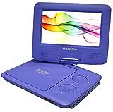 Reproductor portatil de DVD 7-pulgadas Sylvania SDVD7027 con bolsa de vehiculo/ Kit, pantalla giratoria, USB / lector de tarjetas SD (Morado)