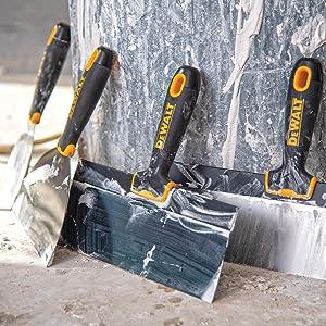 Free Bonus 14 Mud Pan DXTT-3-610 8//10//12 Taping Knives 2 Mud Mixers 3//4//5//6//8 Putty Knives 9-in-1 Painters Multitool DEWALT Deluxe Blue//Carbon Steel Hand Tool Set