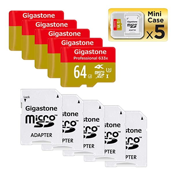 Gigastone Micro SD Card 64GB 5-Pack Micro SDXC Memory Card A1 4K UHS-I U3 C10 with Mini Case and MicroSD to SD Adapter High Speed Memory Card Class 10 4K Ultra HD Video Nintendo Gopro Camera Samsung (Color: 64GB 5-Pack)
