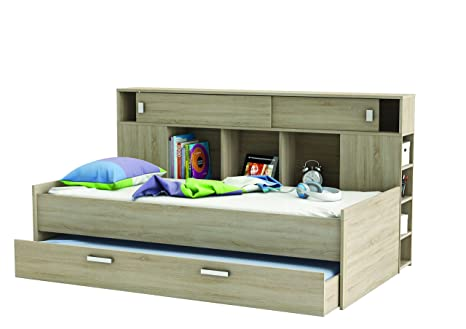 Demeyere 407021 Bettuberbau, Bett und Bettkasten 90 x 200 cm SHERWOOD, sonoma eiche mit struktur