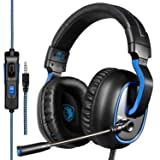 SADES R4 Gaming Headset for New Xbox One, PS4 Controller,3.5mm Wired Over-Ear Noise Cancelling Microphone Volume Control for Mac/PC/Laptop / PS4/Xbox one(Black) (Color: R4 Black)