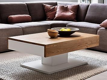 """Couchtisch Ziertisch Wohnzimmertisch Sofatisch Beistelltisch Tisch """"Lania I"""" (weiß-Eiche)"""