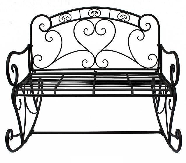 Jardinion Panchina a dondolo, sede della sedia di metallo, nero bracciolo nobile, giardino inglese antracite ST