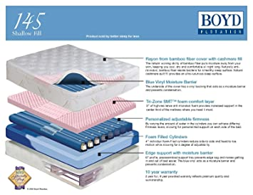 Boyd 145 Shallow Fill Water Bed with Foam TubeS-Bamboo Cover! *Pick Size* (Cal King 72x84)