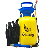 Könnig Lawn and Garden Sprayer 0.8 gallon - Portable Pump Pressure Weed Killer with Nozzle for Water, Pesticides, Chemicals - 1 FREE Pair of One-size Garden Gloves (Color: 3L, Tamaño: 0.8 Gallon)