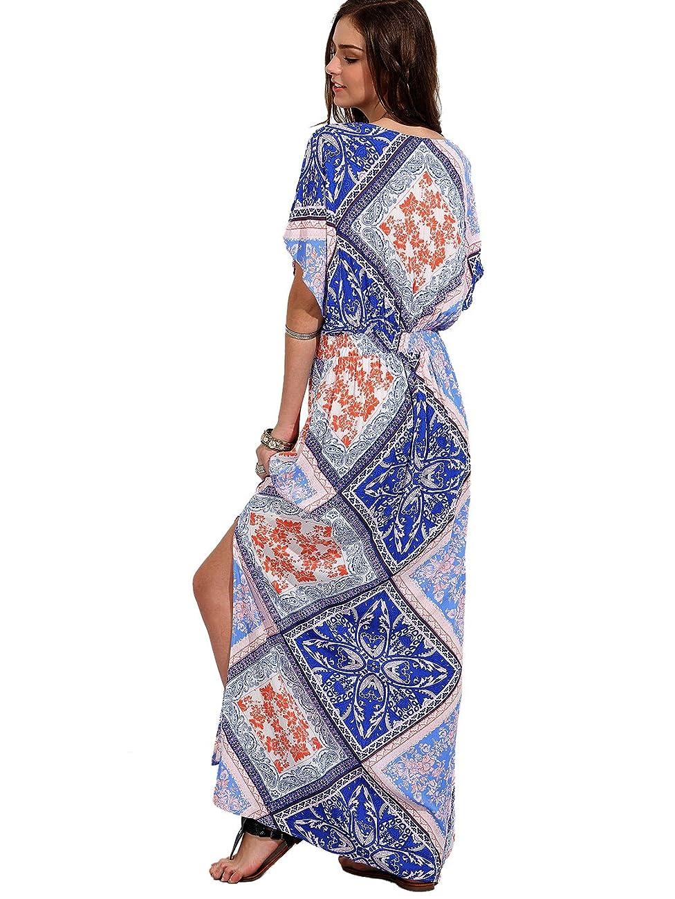 Milumia Women's Boho Split Tie-Waist Vintage Print Maxi Dress 1