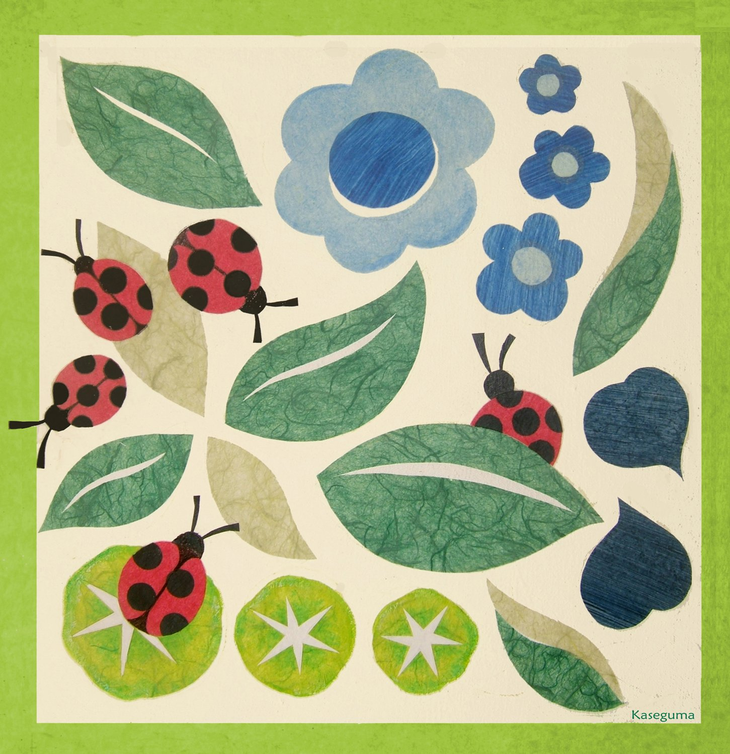 Oopsy Daisy Leaves and Ladybugs Stretched Canvas