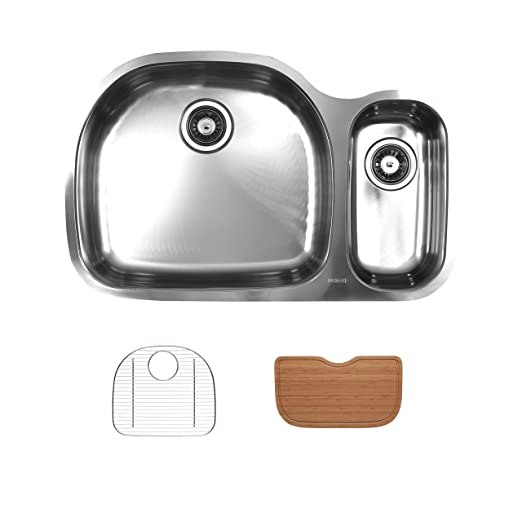 Ukinox D537.70.30.10L.GC Modern Undermount Single Bowl Stainless Steel Kitchen Sink with Bottom Grid & Cutting Board