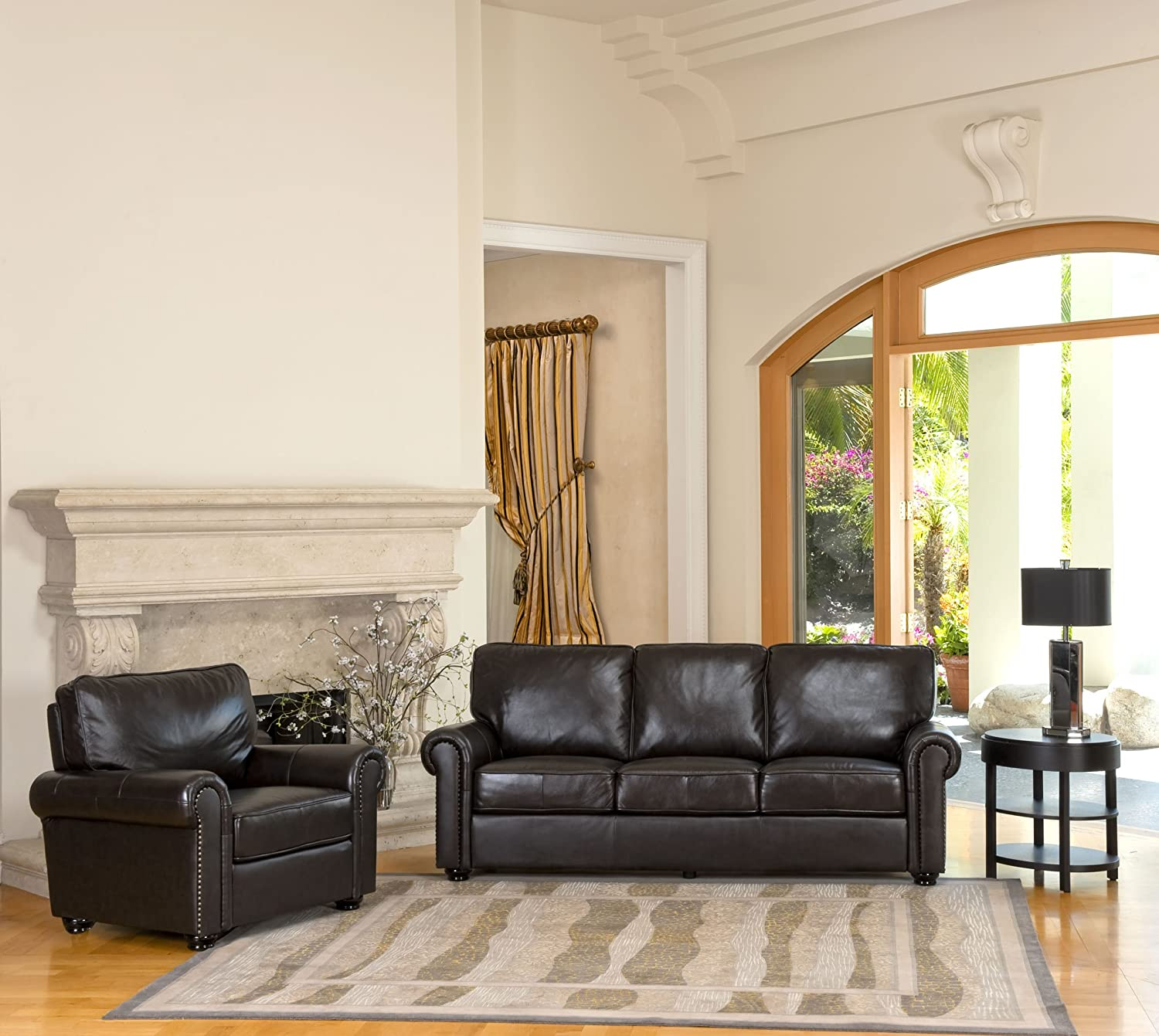Top Grain Leather Sofa and Armchair