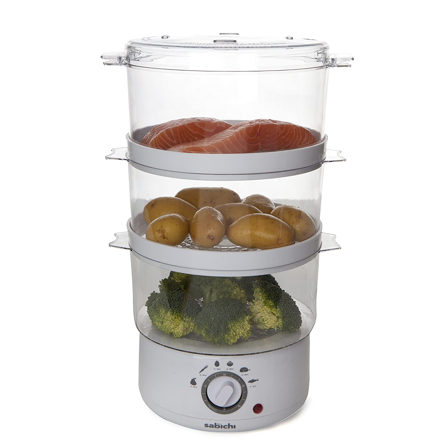 3 Tier Electric Steamer ~ Tier electric food vegetable steamer compact liter
