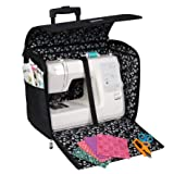 Everything Mary Black Dot Collapsible Rolling Sewing Machine Tote - Sewing Machine Case Fits Most Standard Brother & Singer Sewing Machines, Sewing Bag with Wheels & Handle (Color: Black Dot)