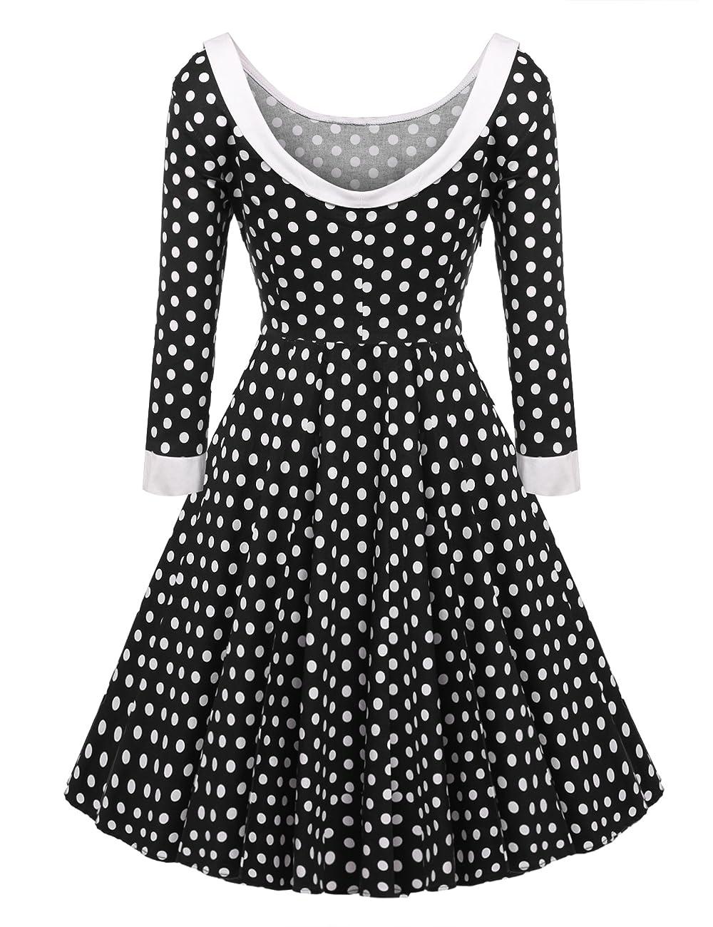ACEVOG Women's Vintage 50s Elegant Polka Dot Formal Casual Party Dress 2