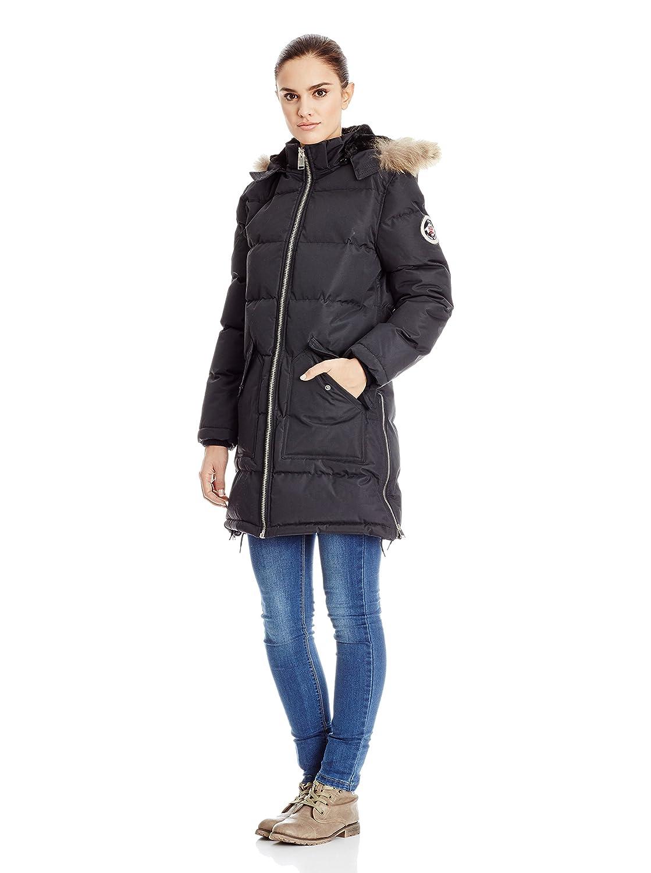 Winterjacke | Wintermantel | Stepp-Mantel für Damen von Geographical Norway – elegante dick gefütterte Stepp-Jacke mit Echtfell-Rand Kapuze ideal für den Winter, Modell Canelle kaufen